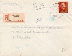 1 IV 1952 Enkelfrankering NVPH 525 Op Aangetekende Brief Van Tegelen Naar Venlo - Periode 1949-1980 (Juliana)