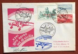 AVIAZIONE XXVI GIRO AEREO DI SICILIA  BUSTA UFFICIALE VOLATA  1/9/74 CON FIRMA DEL PILOTA  MICHELE GAGLIANI - Francobolli
