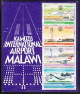 Malawi 1983 MNH Scott #422a Souvenir Sheet Of 4 Airplanes, Kamuzu Airport Manned Flight 200th - Malawi (1964-...)