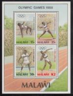 Malawi 1988 MNH Scott #517a Souvenir Sheet Of 4 Athlets 1988 Summer Olympics Seoul - Malawi (1964-...)