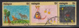 Malaysia 1971 Used Scott #87-#89 Strip Of 3 Children's Drawings UNICEF 25th Anniversary - Malaysia (1964-...)
