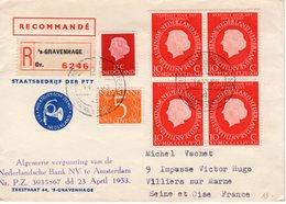 14 VI 1955 Aangetekende Brief Van Staatsbedrijf PTT Naar Villiers Sur Marne - Periode 1949-1980 (Juliana)