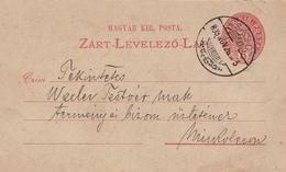 Entier Postal 1899 Miskolc Mischkolz Ungarn Hongrie Magyarország Otto Menner Gyógyszertár Apotheke Pharmacy Pharmacie - Postal Stationery