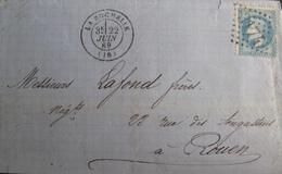 R1712/9 - LETTRE (LAC) - NAPOLEON III Lauré N°29B - LA ROCHELLE / GC 3174 (22 JUIN 1869) > ROUEN - 1863-1870 Napoleon III With Laurels