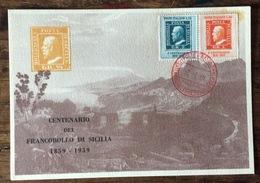 CENTENARIO  DEL FRANCOBOLLO DI SICILIA  1859 - 1959  CARTOLINA UFFICIALE  TEATRO GRECO DI TAORMINA - Francobolli