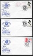 1er ANNIVERSAIRE KIWANIS INTERNATIONAL 1988  CàD MARTIGUES (13) 3 ENVELOPPES ILLUSTREES - Storia Postale