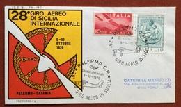 AVIAZIONE 28 GIRO AEREO DI SICILIA  9-10 OTTOBRE 1976 PALERMO - CATANIA - Francobolli