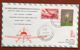 AVIAZIONE 23   GIRO AEREO DI SICILIA  3/7/71  AEROGRAMMA VOLATO AEREO DI GARA N.62 PILOTA MICHELE GAGLIANI - Francobolli