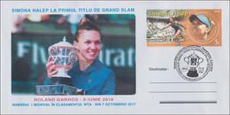 ROMANIA - TENNIS : SIMONA HALEP - WTA No. 1 - ROLAND GARROS WINNER / ENVELOPPE SPÉCIALE : 29.08.2018 / SPECIAL COVER - Marcophilie