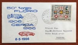 AUTOMOBILISMO 50 TARGA FLORIO CERDA 8/5/66  BUSTA PER PALERMO - Francobolli