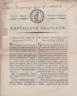 BELGIQUE - Flandre - Département De La Lys - République Française - 1798 - Directoire Exécutif - Arrêté - Décrets & Lois