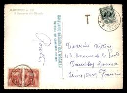 CARTE TAXEE - 2 TIMBRES A 3 FRS SUR CARTE VENANT D'ITALIE (MAGREGLIO) LE 26.5.1953 - Marcofilia (sobres)