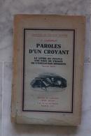 PAROLES D UN CROYANT LIVRE DE OLIVIER TODD  DE 1936 VALEUR + - Religion