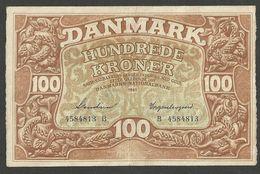 DENMARK 100 KRONER, 100 DANISH KRONE 1941 Prefix B P#33c.2 VF+ RARE - Danemark