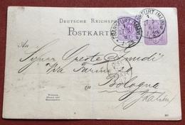 GERMANY POSTKART 5 P.+5 P. FROM FRANKFURT (MAN) TO BOLOGNA  27/3/87  SIMON & NCo  FRANKFURT - Germany