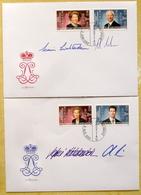 Liechtenstein 2018: ORIGINAL-SIGNATUREN Des Fürstenpaares & Des Erbprinzen-Paares Auf 2 FDC Von 2002 - Familles Royales