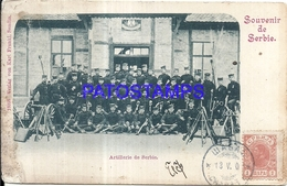 100784 SERBIA COSTUMES MILITARY ARTILLEY SPOTTED POSTAL POSTCARD - Serbie