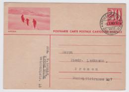 Suisse, 1935, Carte Postale, Chiffre, AROSA (skieurs), Filigrane 6, 20 C. Rose, Kreuzlingen 6-1-40 - Entiers Postaux