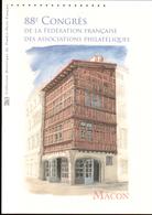 2015, DOCUMENT OFFICIEL DE LA POSTE: 88e Congrès De La Fédération Française Des Associations Philateliques, Macon - Documents Of Postal Services