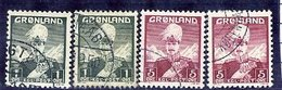 GREENLAND 1938 King Christian X 1 And 5 Øre Type I And II Used.  AFA 1-2, 1a-2a - Greenland