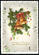 B7735 - Alte Glückwunschkarte - Tannenzweig Glocken - Altri