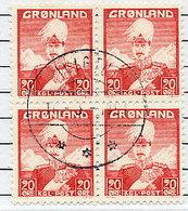 GREENLAND 1946 King Christian X 20 Øre Block Of 4 Used.  Michel 26 - Greenland