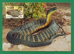 Australien 2014 , Things That Sting - Tiger Snake - Maximum Card - First Day 23 September 2014 - Maximumkarten (MC)