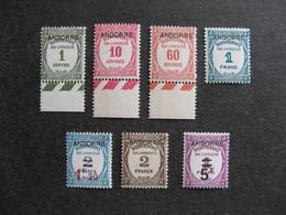 RARE Et TB Série De Timbres Taxe D'Andorre N°9 Au N°15, Neufs XX. - Unused Stamps
