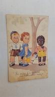 ANTIQUE POSTCARD BLACK HUMOUR RACIST COLONIALIST CHILDREN TALKING CIRCULATED 1944 - Ilustradores & Fotógrafos