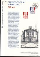 2015, DOCUMENT OFFICIEL DE LA POSTE: Service Central D'etat Civil, 50 Ans - Documents Of Postal Services