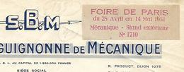 Facture Avec Vignette Foire De PARIS 1951 / S.B.M à CLENAY 21 / Société Mécanique - Erinnophilie