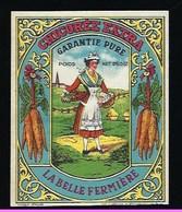 Ancienne Etiquette Chicorée Extra Garantie Pure La Belle Fermière  250g - Fruits Et Légumes