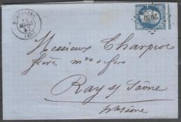 Haute Saône:  P.c.2070 Sur N°14A + CàD MONTBOZON(69) Sur LAC De 1857 (origine LOULANS) - Marcophilie (Lettres)