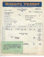 Facture 1952 / Biscuits PERNOT à DIJON / Vignette Consigne Emballage - Vignetten (Erinnophilie)