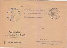 Lettre à Entête De St Avold (T325 St Avold F) En Franchise Le 9/1/42 Pour Metz - Postmark Collection (Covers)
