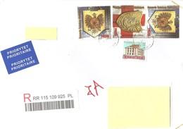 POLONIA - 2018 Lettera Raccomandata Per L'estero Con 4 Francobolli (stemmi) - 1944-.... Republic