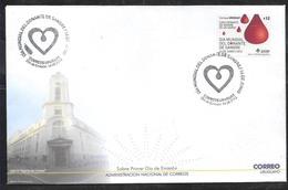 URUGUAY 2012 MEDICIN BLOOD DONATION AUTOADHESIVE FDC Yv 2565 - Uruguay