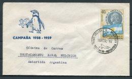 1959 Argentina Antartida Antarctica Polar Penguin Cover.Naval Melchior - Argentine