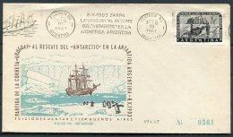 1971 Argentina Antartida Antarctica Polar Penguin Ship Uruguay Al Rescate Cover. - Polar Philately