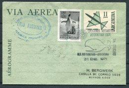 1971 Argentina Antartida Antarctica Penguin Whale Polar Aerogram. Rio Tunuyan - Polar Philately