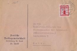 Lettre à Entête De St Avold (T329 St Avold Westm E) TP Service 12pf=1°éch Le 22/12/42 Pour Metz - Postmark Collection (Covers)