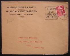 1943 Inval, Par Gisors (Eure) Allard Van Smevoorde Fils Chaussons, Tresses Et Lacets - Marcophilie (Lettres)
