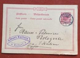 GERMANY POSTKART 10 Pf.   FROM  ERFURT / 1  +  ALBERT KATLEIN  7/10/91 TO BOLOGNA - Germany