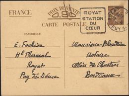 Entier CP Iris Sans Valeur Indiquée Carte Interzone Oblitération Daguin Royat 7 10 1940 Royat Station Du Coeur - Entiers Postaux