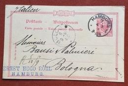 GERMANY POSTKART 10 Pf.   FROM  HAMBURG 4/9/91 + ERNST HUGO ROHL  TO BOLOGNA - Germany