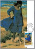 Pintura THE BLUE  DRESS - Brian Dunlop. Australia 1990 - Arte