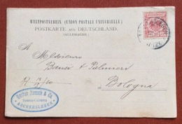 GERMANY POSTKART  GUSTAV JAENSCH   10 Pf.  FROM ASCHERSLEBEN  12/10/91 TO BOLOGNA ITALY - Germany