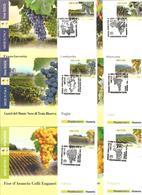 Enologia, Uva, Vino, Vite. 2014, Italia Serie 15 Cartoline Maximum Di Poste Italiane Annullo Primo Giorno Di Emissione. - Agricoltura
