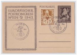Dt.- Reich (001715) Ganzsache P294 Europäischer Postkongrass Wien 1942, Mit Propagandavignette Zum Tag Der Briefmarke - Deutschland