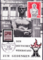 Berlin - Fotokarte Zum 25. Gedenken An Den Dt. Widerstand Vom 20.7.44 (MiNr. 286) 1969 - Karte - Covers & Documents
